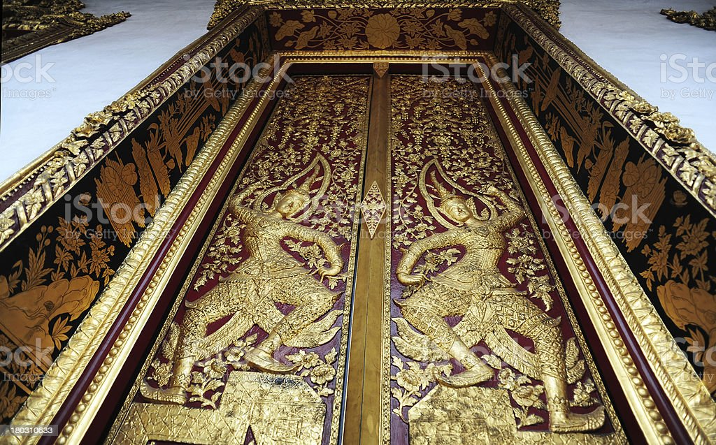 Native Thai style pattern on door temple royalty-free stock photo