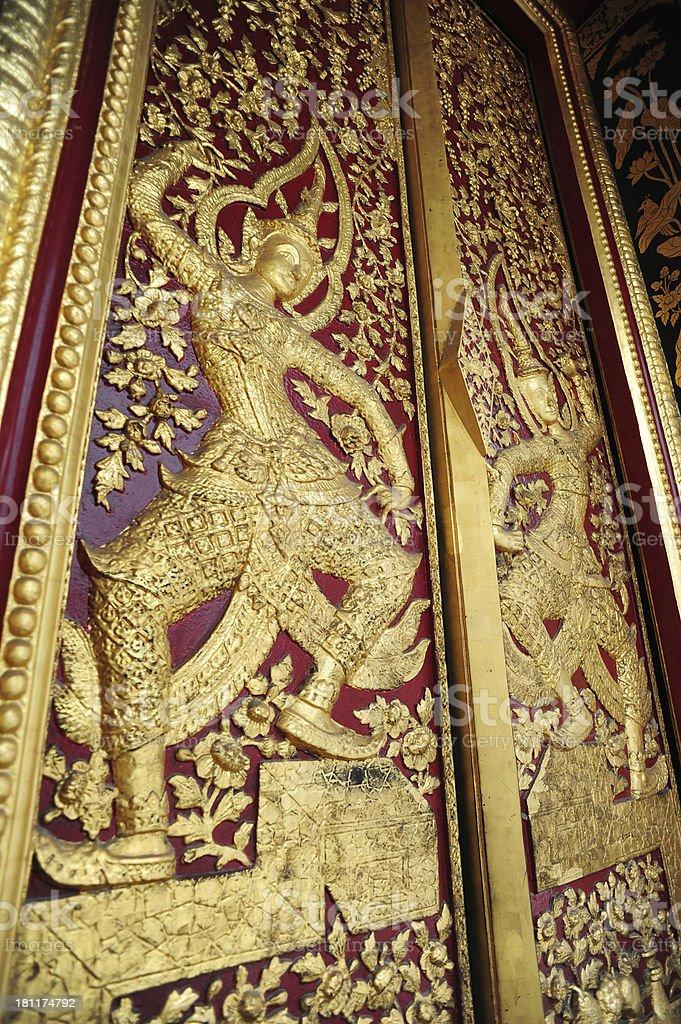 Native Thai style pattern on door temple royalty-free stock photo