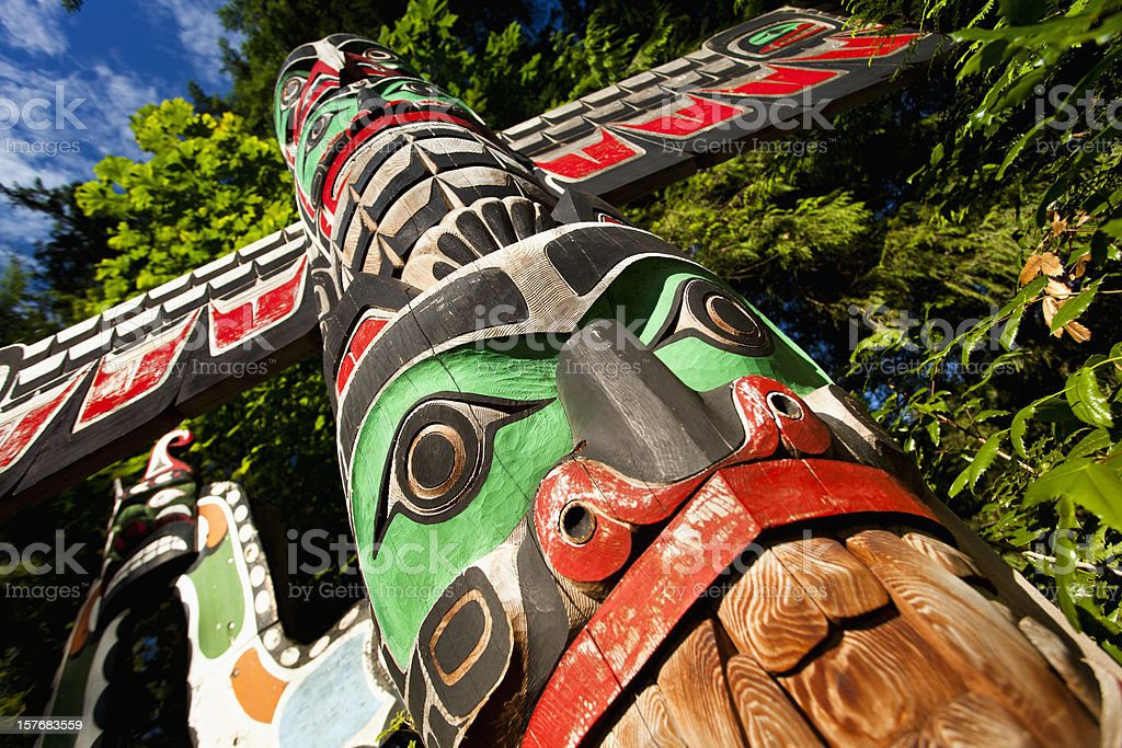 Native totem pole in BC royalty-free stock photo