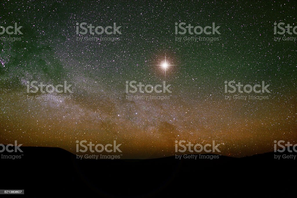 Nativity backdrop with Christmas star and real night sky. stock photo