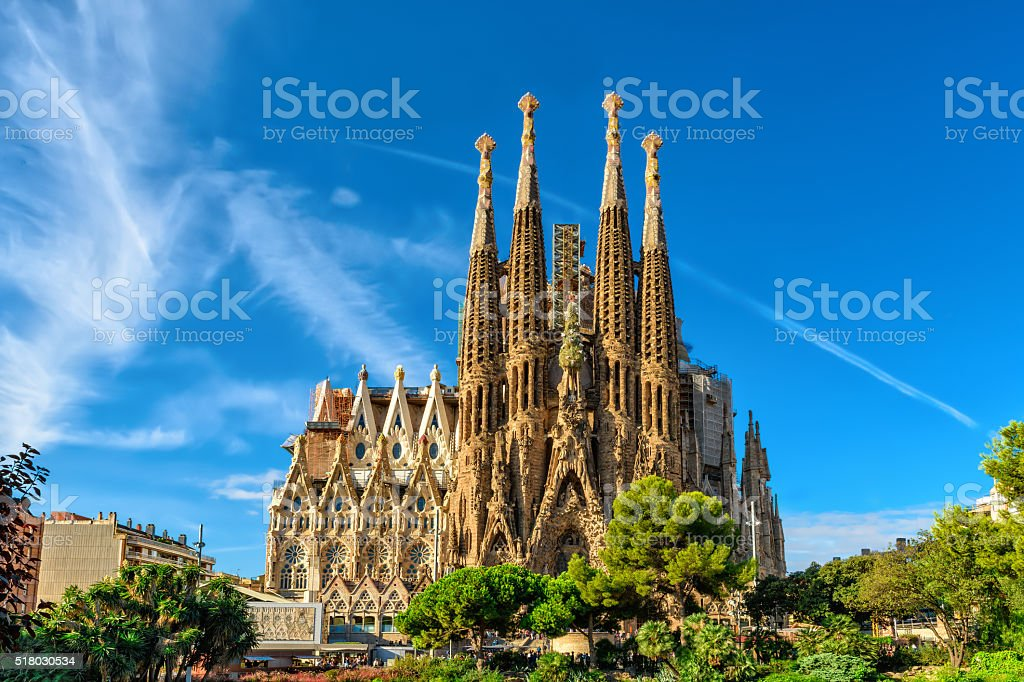 Nativity facade of Sagrada Familia cathedral in Barcelona stock photo