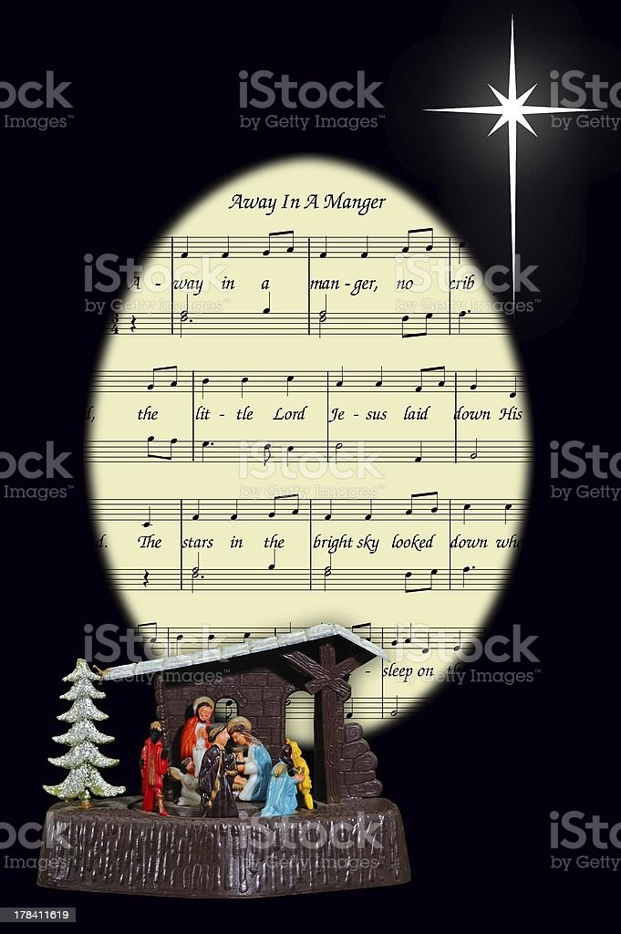 Nativity scene and Christmas carol. royalty-free stock photo