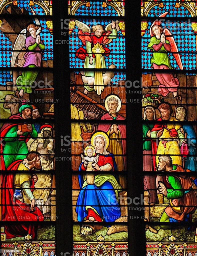 Nativity Scene at Christmas in St Patrick's Cathedral, NYC stock photo
