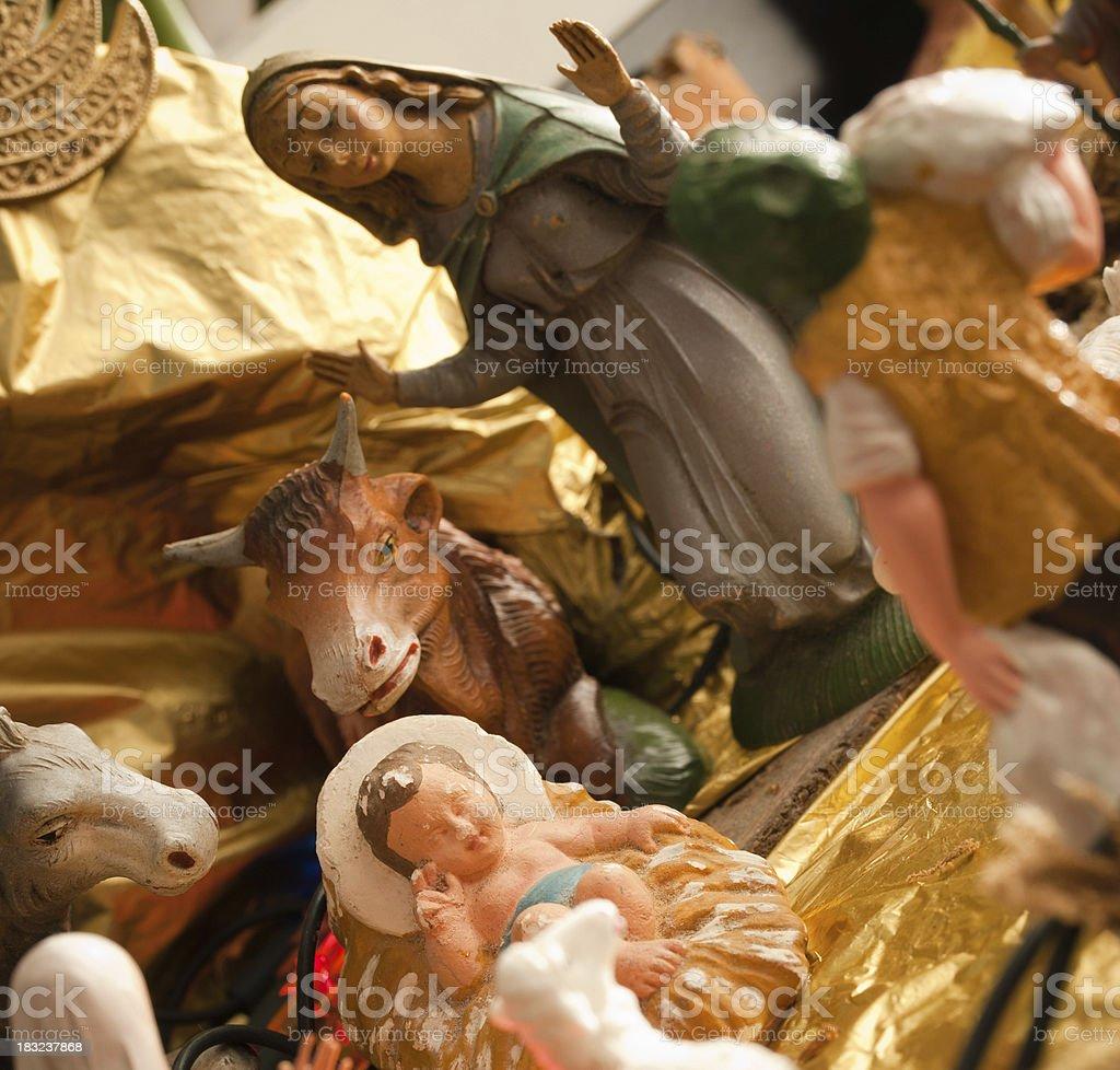 Nativity Scene Christmas crib royalty-free stock photo