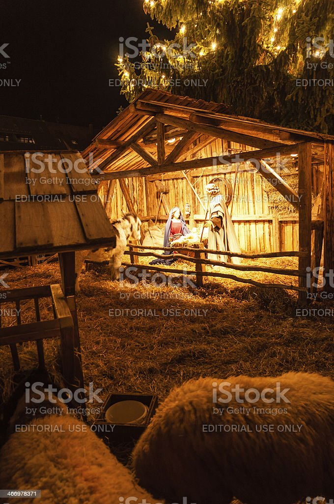 Nativity scene, Christmas market in Ulm. Xmas 2013, Germany stock photo