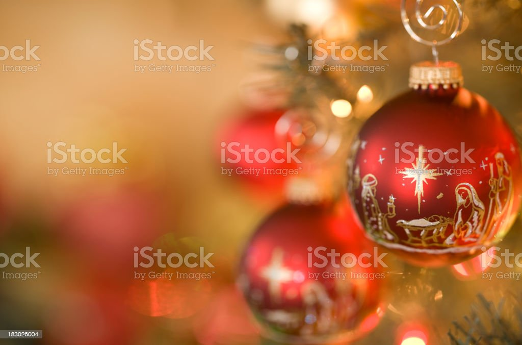 Nativity Scene Christmas Ornaments stock photo