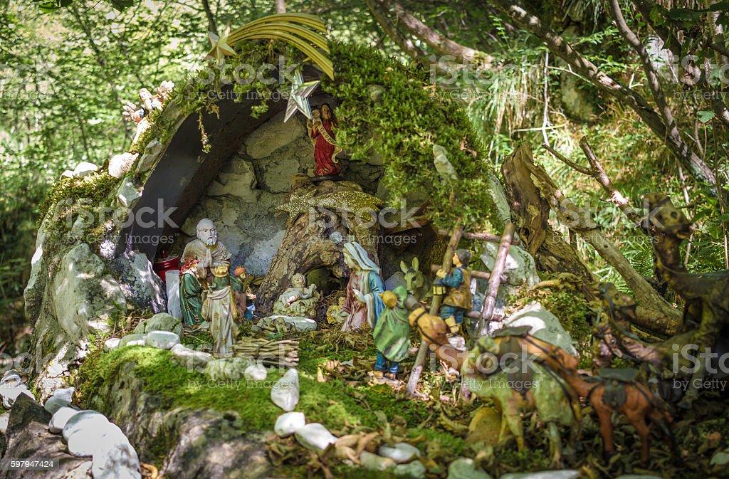 Nativity scene in a forest stock photo