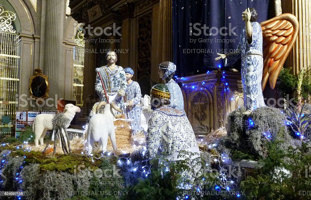 Nativity scene in the Cathedral of Puebla stock photo