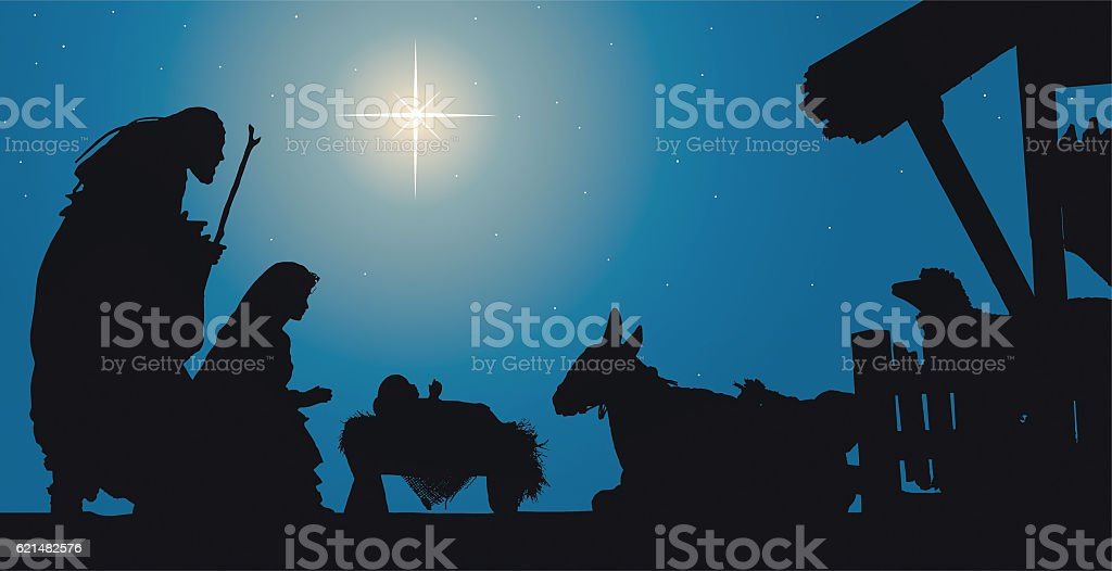 Nativity Scene Jesus in a Manger with Joseph and Mary stock photo