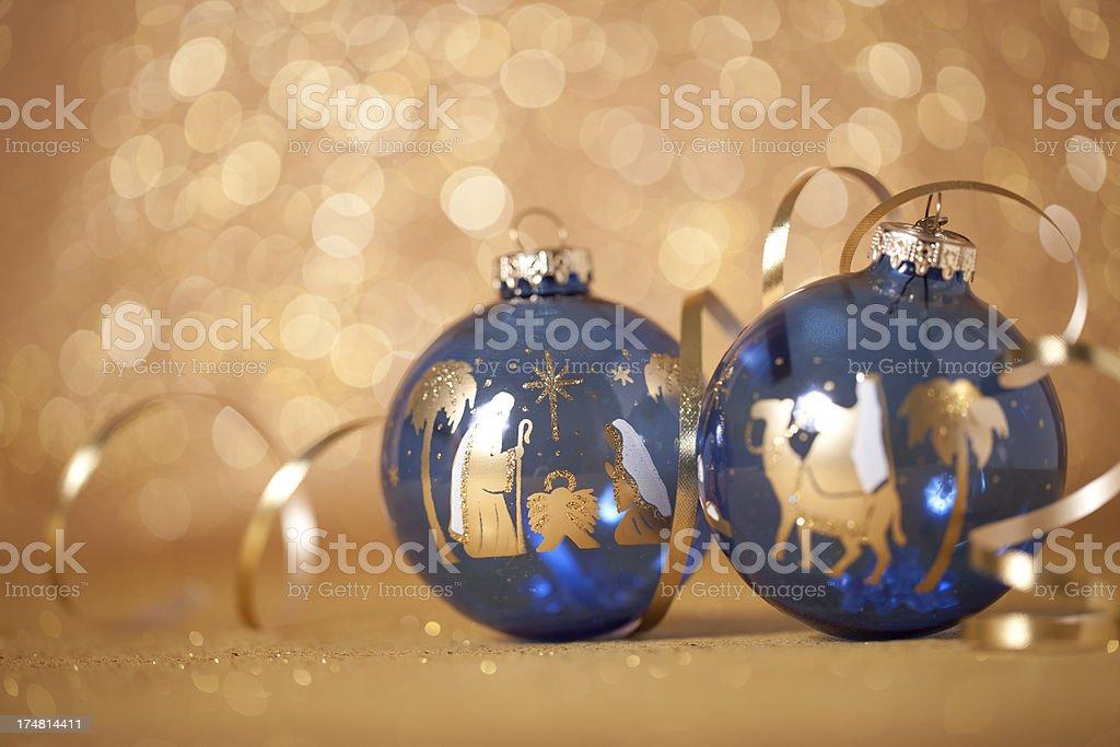 Nativity Scene on a Christmas Bauble royalty-free stock photo