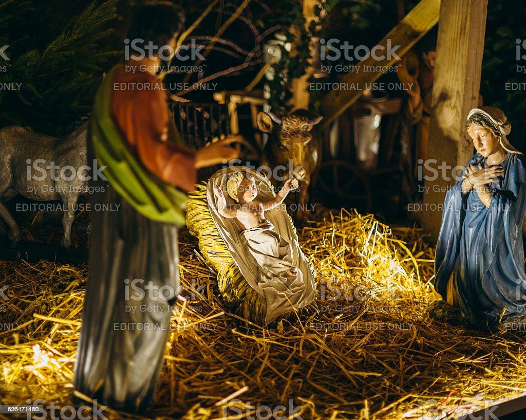Nativity scene on the streets Strasbourg with Jesus, Mary Jospeh stock photo