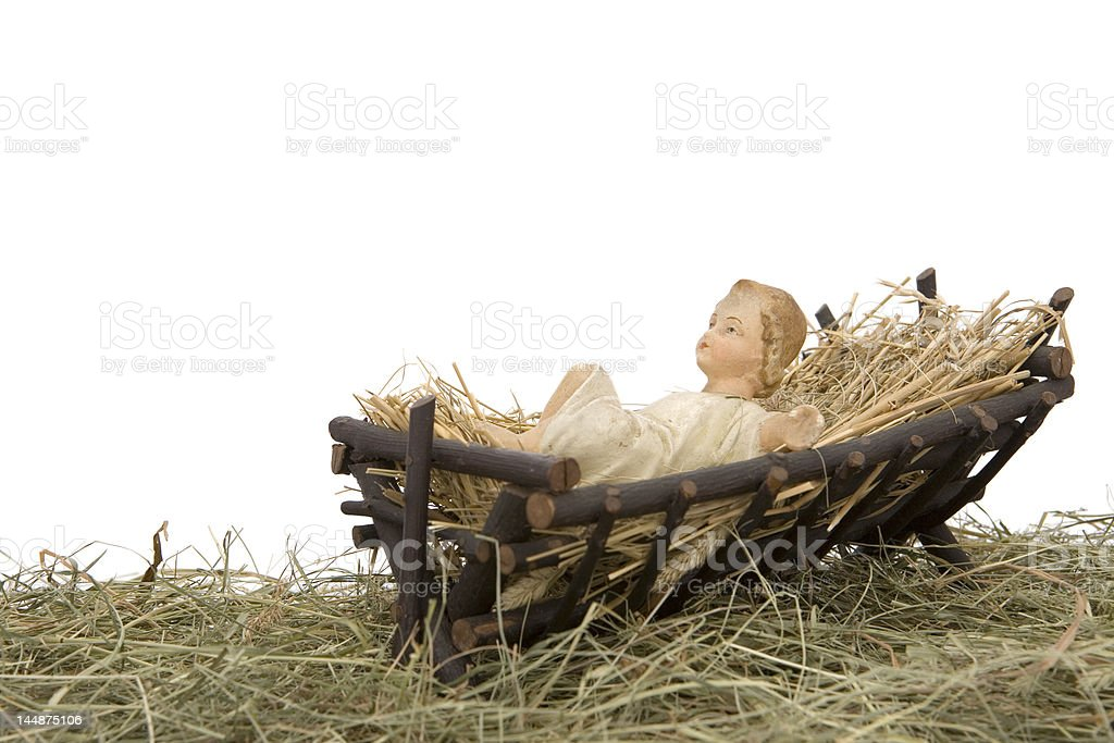Nativity scene on white background royalty-free stock photo