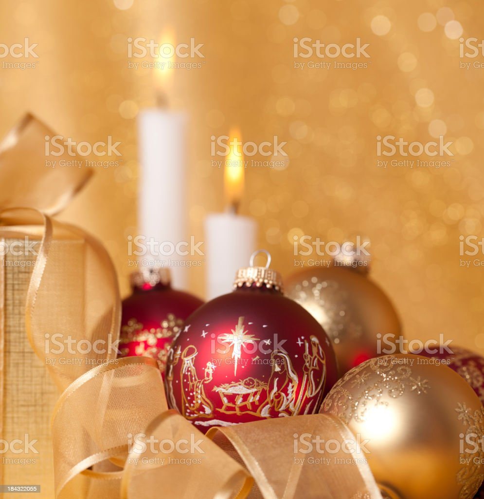Nativity Scene Ornaments and Christmas Candles royalty-free stock photo