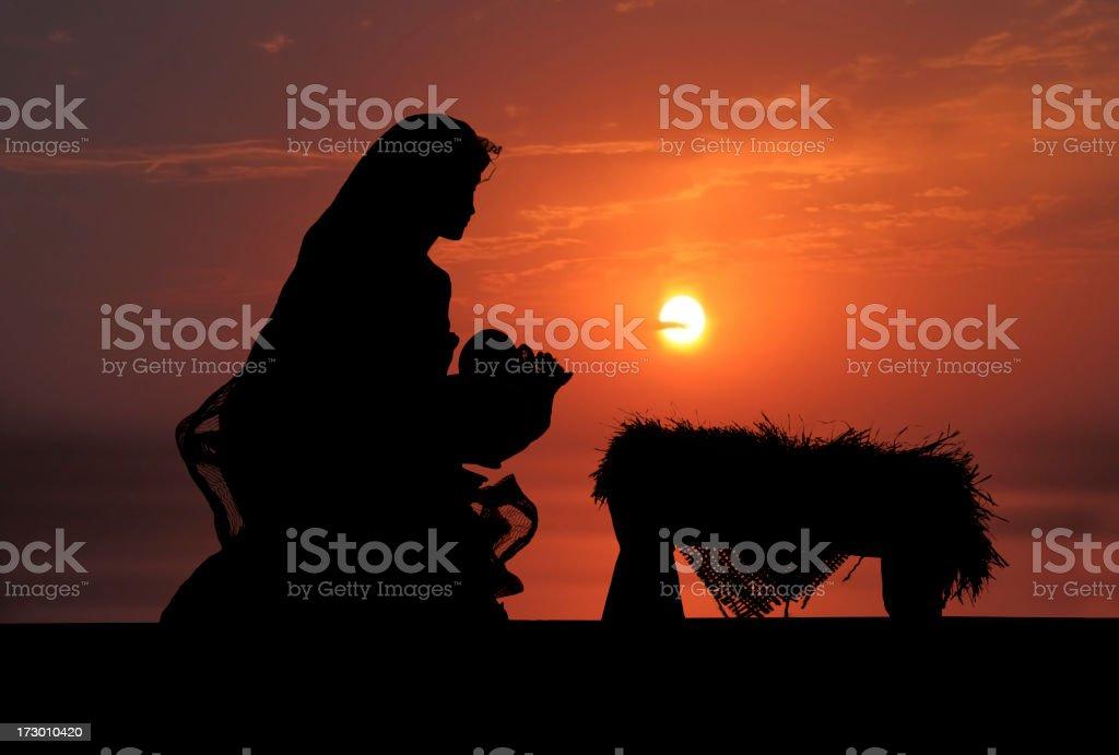 Nativity Scene (Photographed Silhouette) stock photo