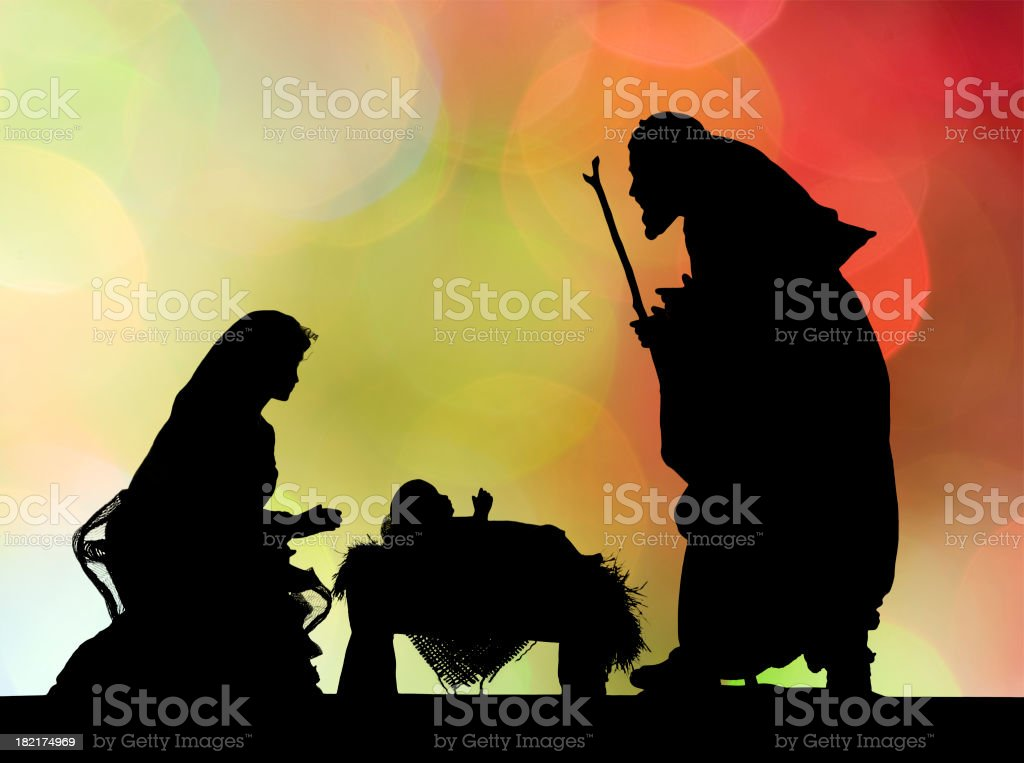 Nativity Scene (Photographed Silhouette) royalty-free stock photo
