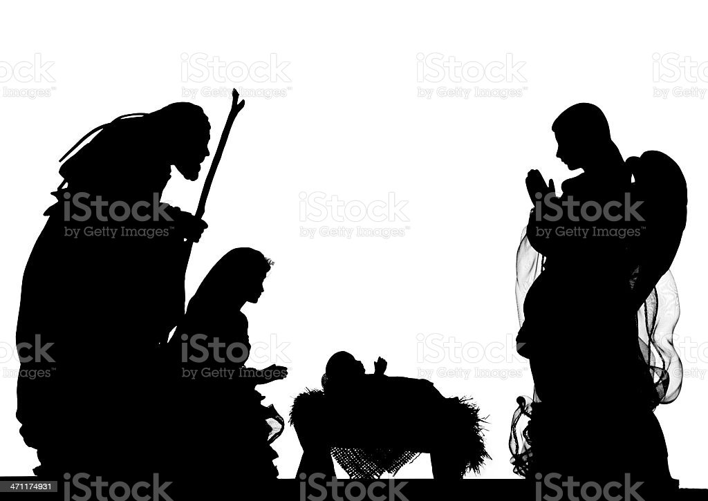 Nativity Scene (Photographed Silhouette) stock photo