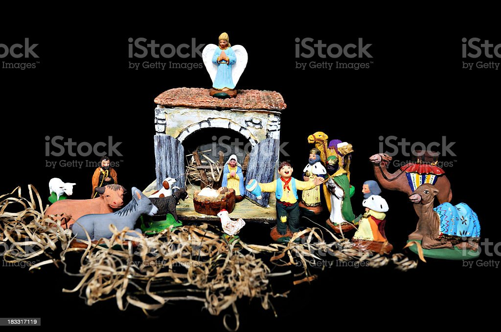 nativity scene with animals and angel royalty-free stock photo