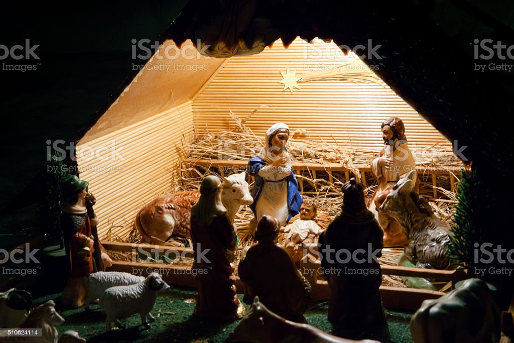 Nativity scene with figurines stock photo