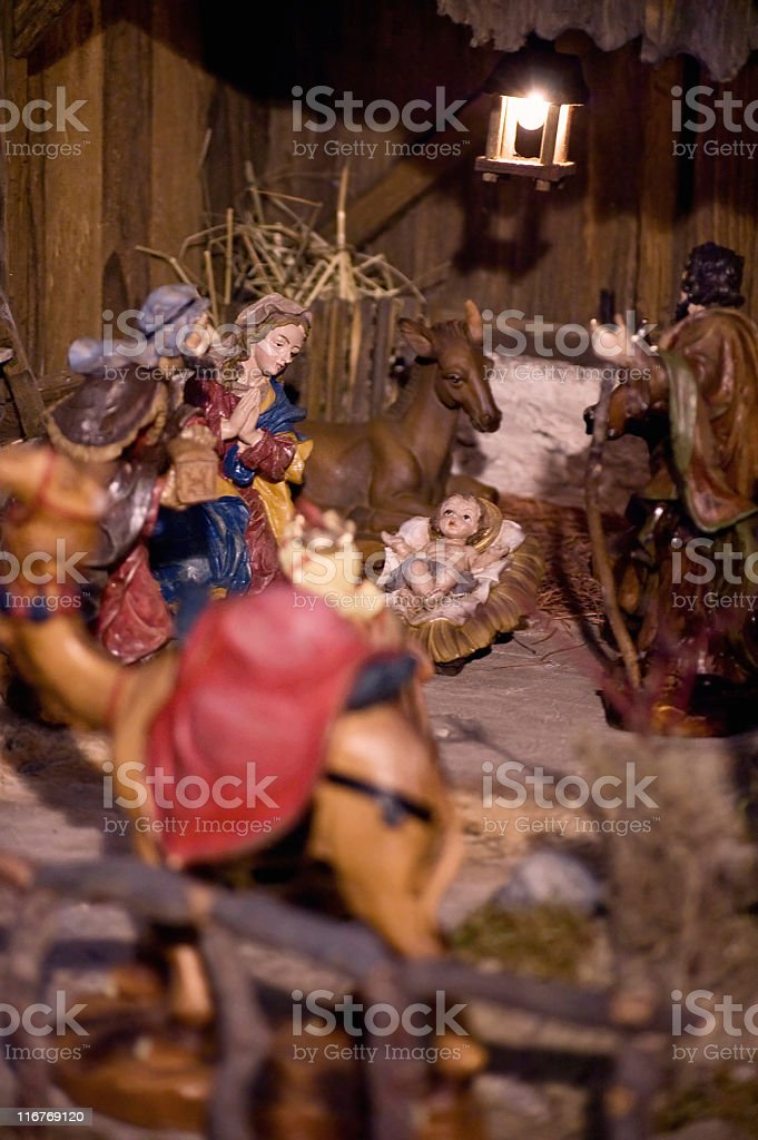 Nativity Scene with Holy Child royalty-free stock photo