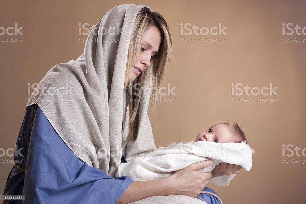 Weihnachtskrippe mit Maria und Baby Jesus – Foto