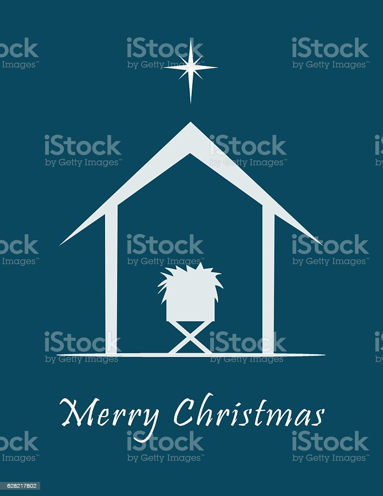 Nativity scene with star, manger and stable stock photo