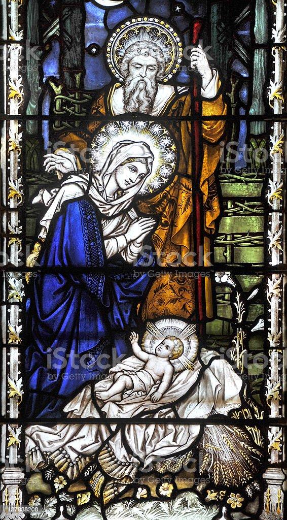 Nativity window stock photo