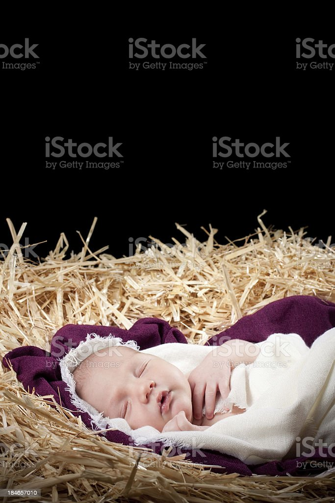 Nativity with Baby Sleeping in Manger royalty-free stock photo