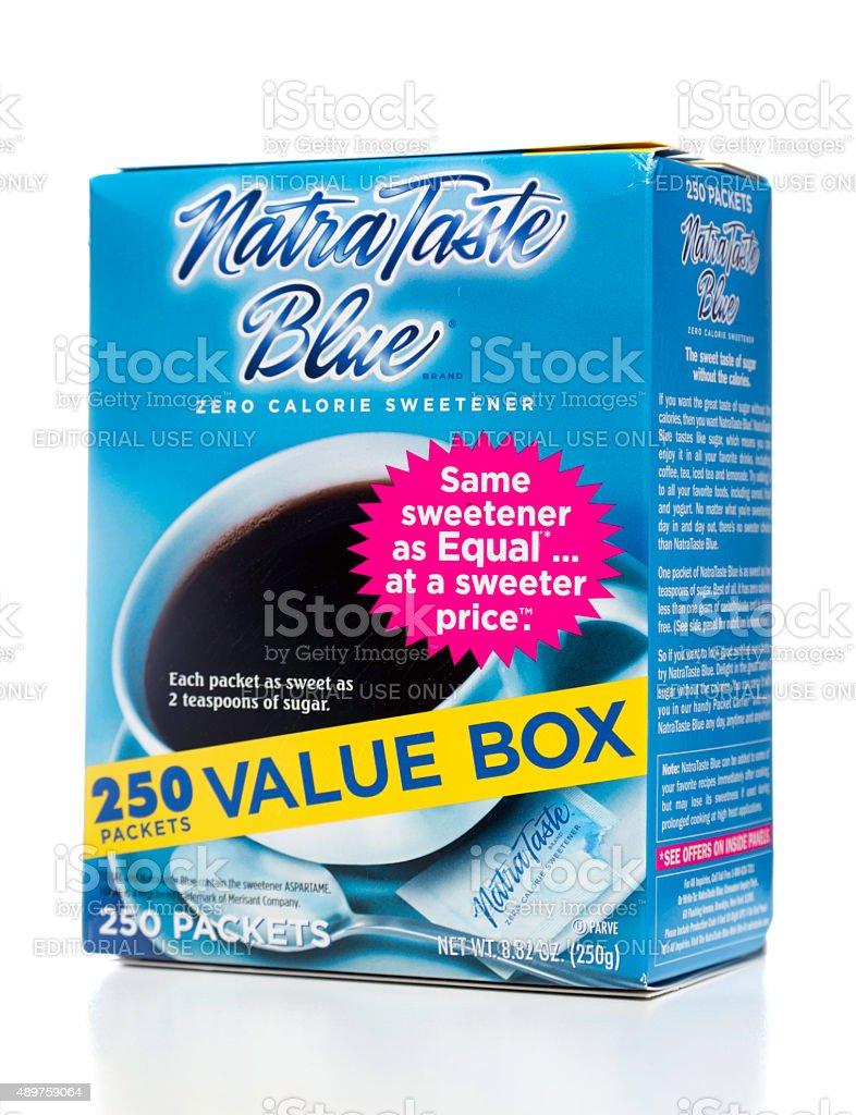 NatraTaste Blue 250 packets value box stock photo