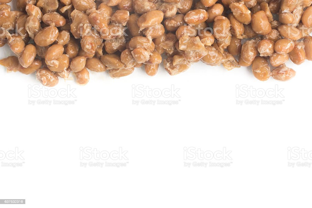 Natto. Fermented soybeans frame stock photo