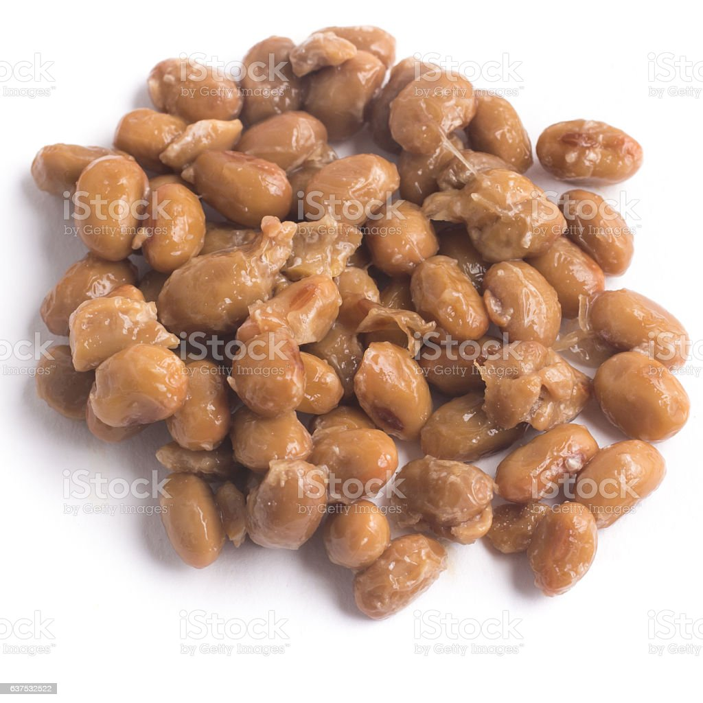 Natto. Fermented soybeans stock photo