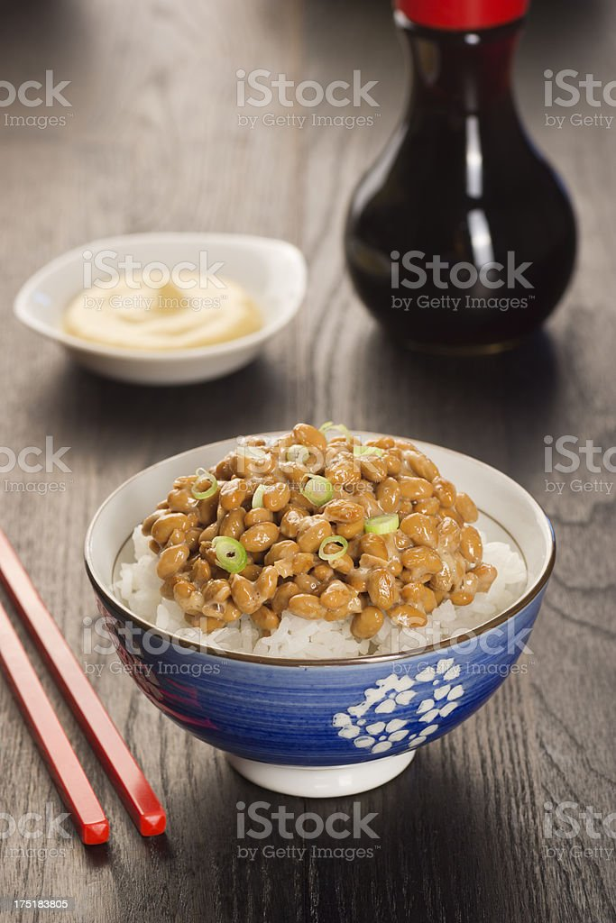Natto (Fermented Soybeans) stock photo