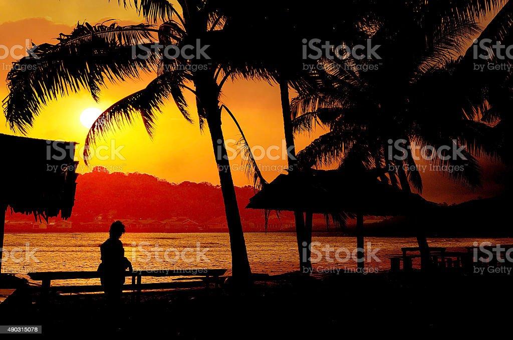 Natuna beach Indonesia stock photo