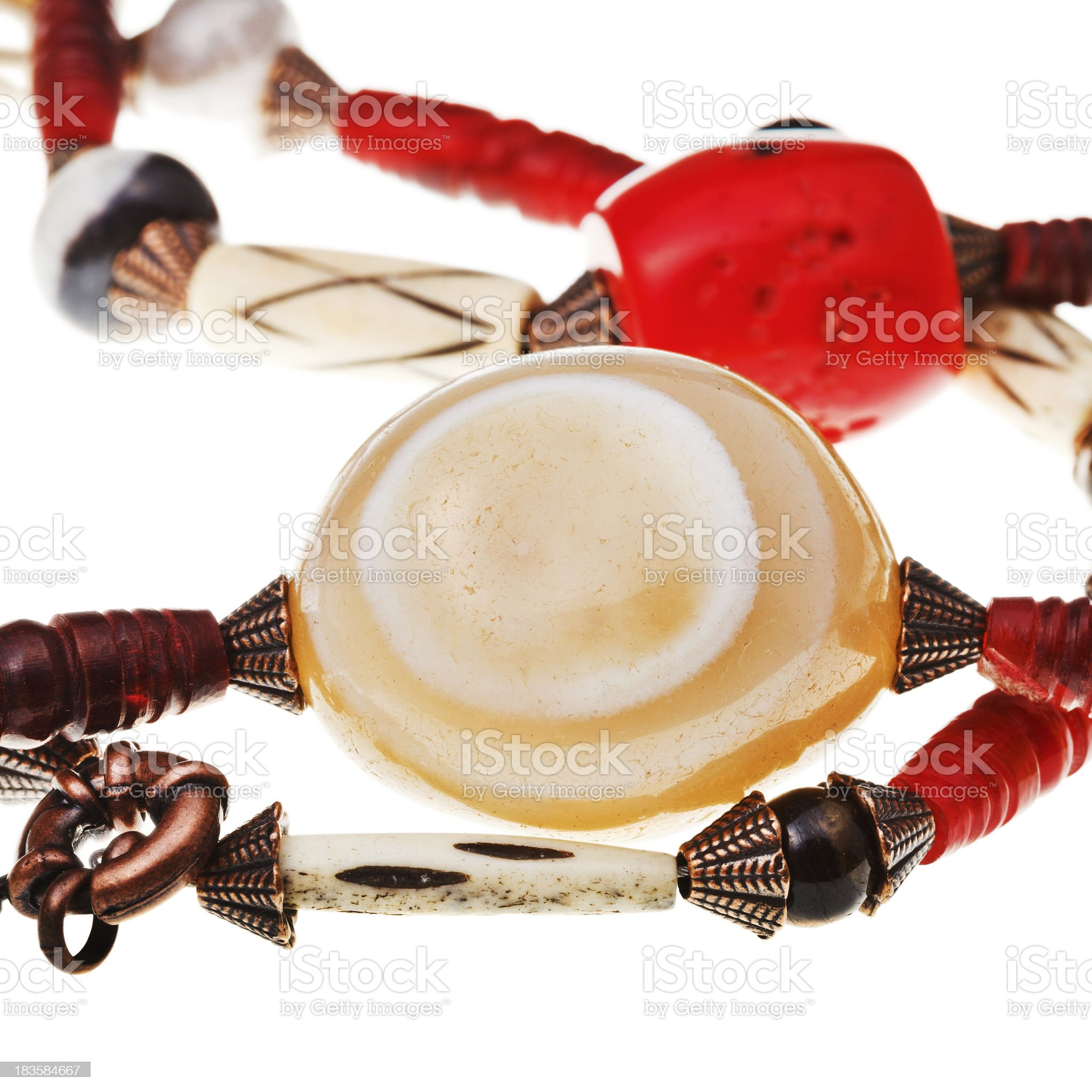 natural agate stone in string of beads royalty-free stock photo