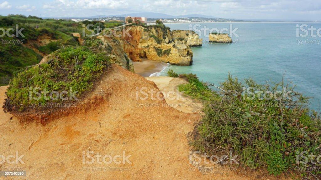 natural algarve coast stock photo