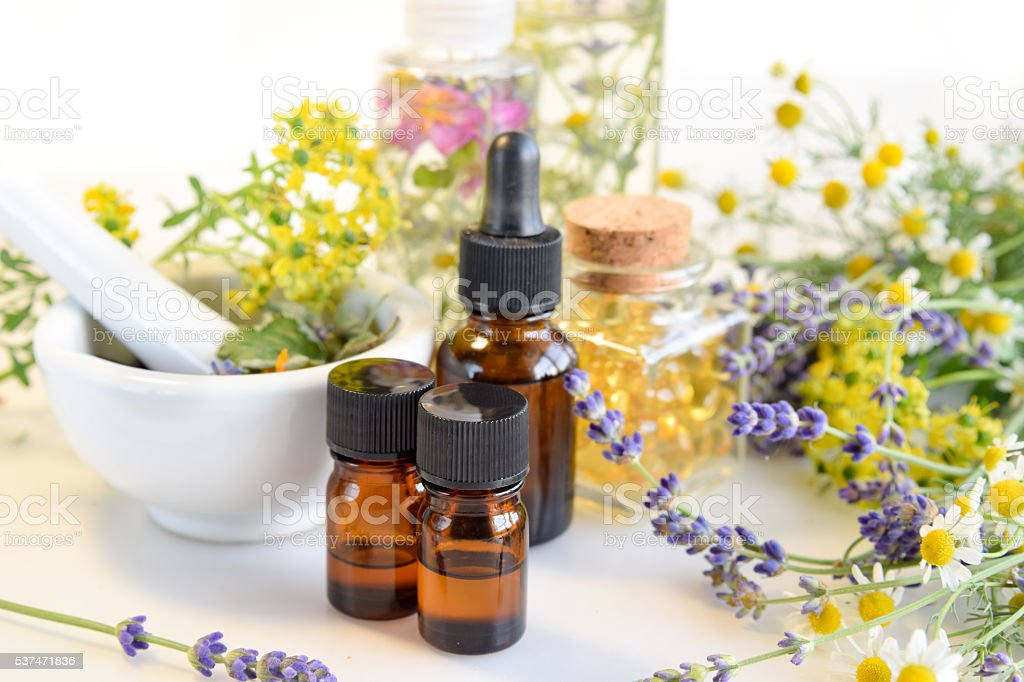 natural apothecary in white background stock photo