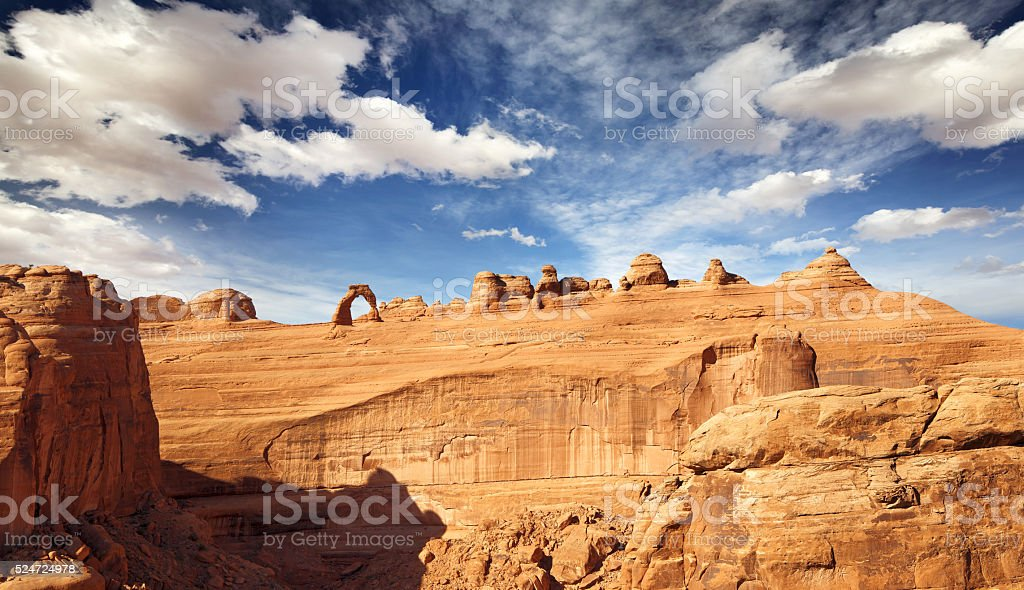 natural arch and rock formations, Arches national Park stock photo