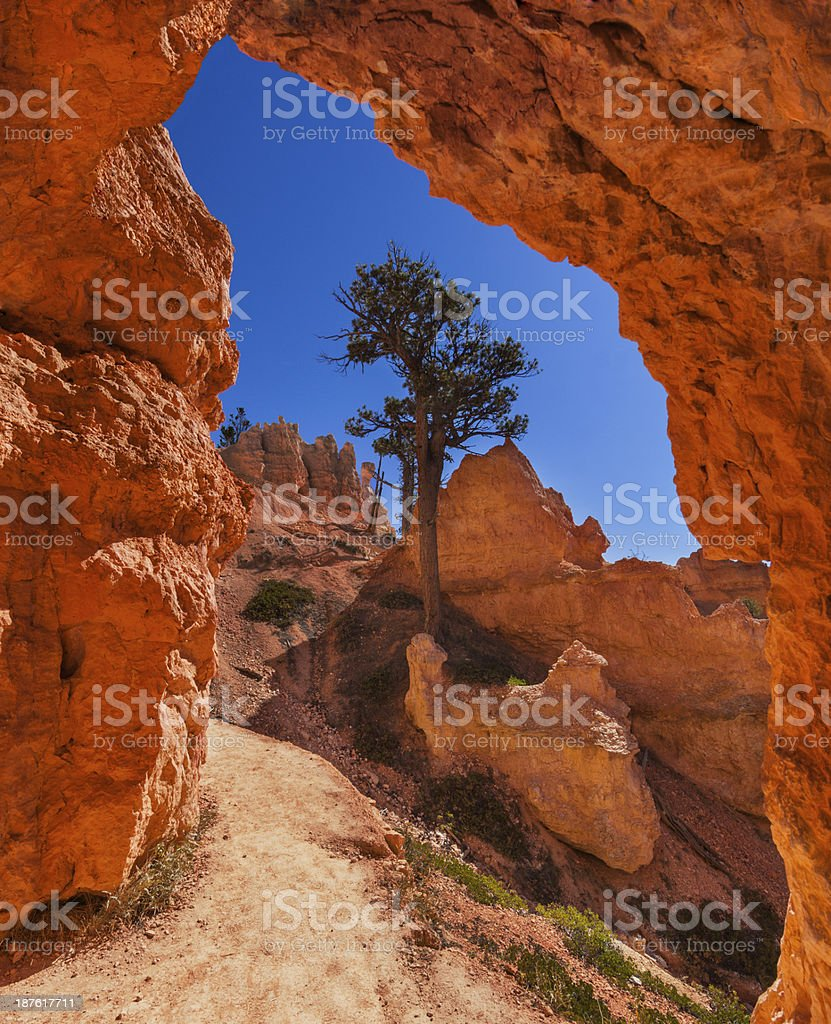 Natural Arch over Hiking Trail stock photo