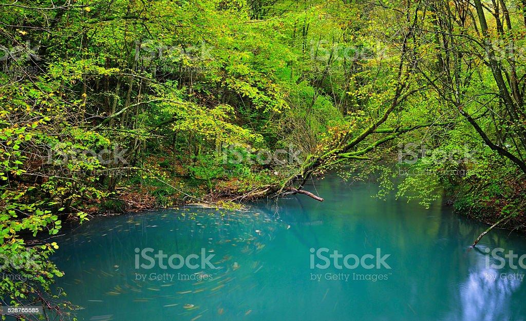 Natural azure pond at Beusnita National Park in Romania stock photo