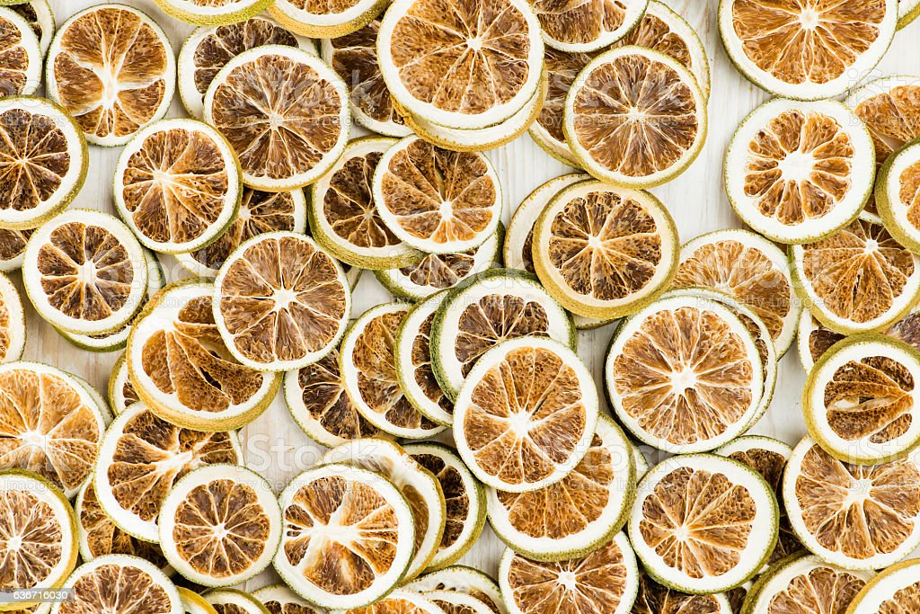 natural background dry sliced lemon, top view stock photo
