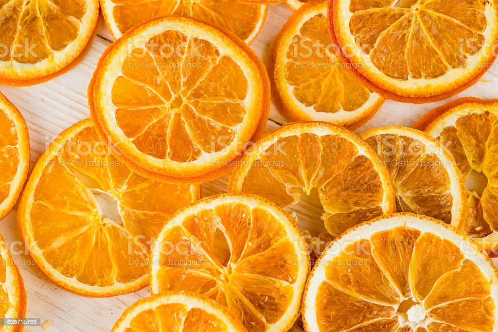 natural background dry sliced oranges, top view close-up stock photo