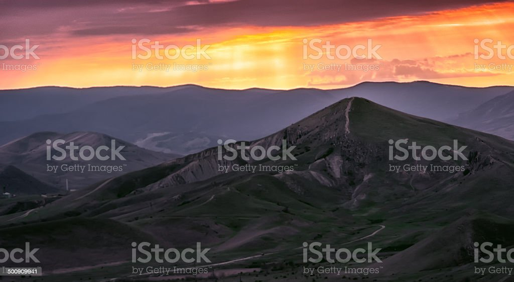 natural background with mountains silhouette on sunset, Crimea royalty-free stock photo