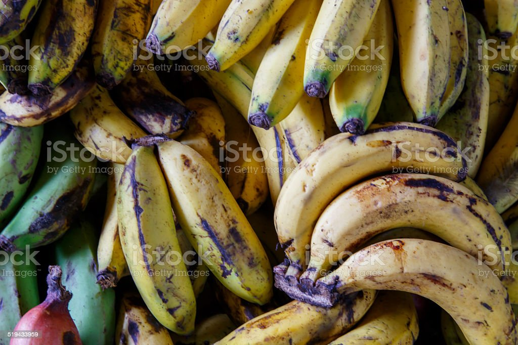 natural bananas mature close up stock photo