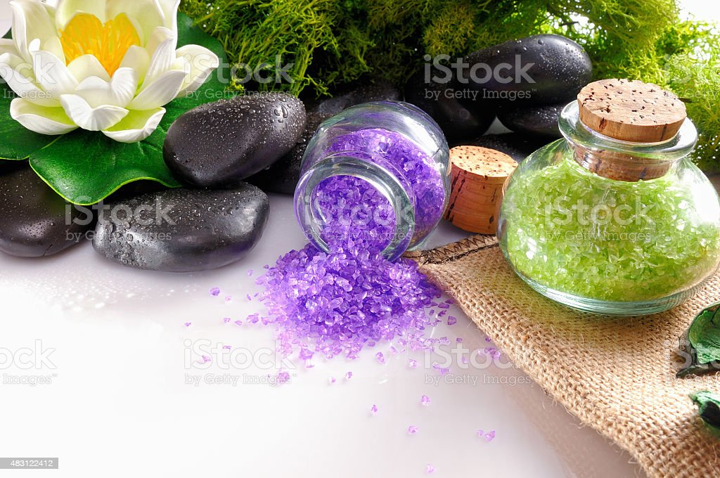 Natural bath salts close up on white table stock photo