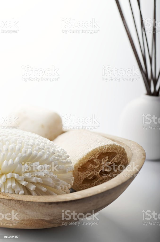 Natural Bath Spa Items Still Life on White Background royalty-free stock photo
