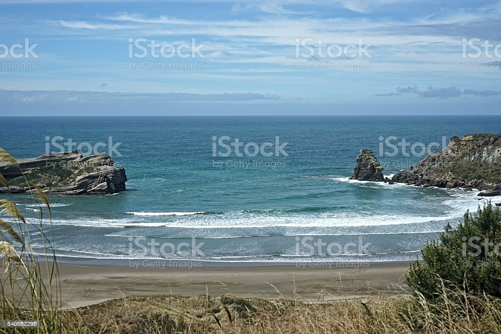 Natural Bay of Castlepoint, New Zealand stock photo