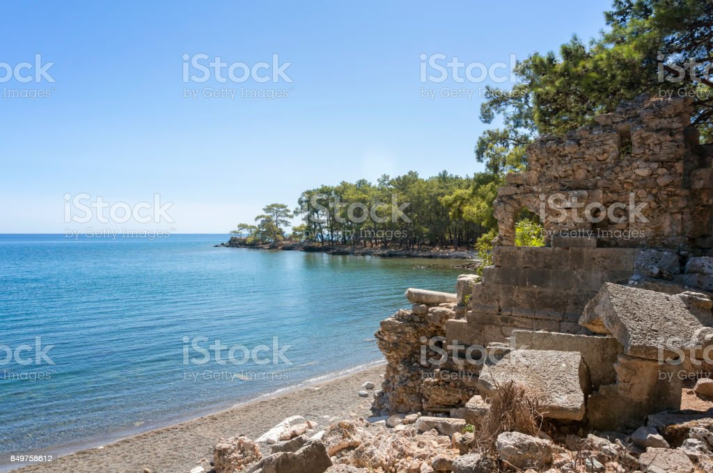 Natural Beach From Phaselis Antique City, Antalya, Turkey stock photo
