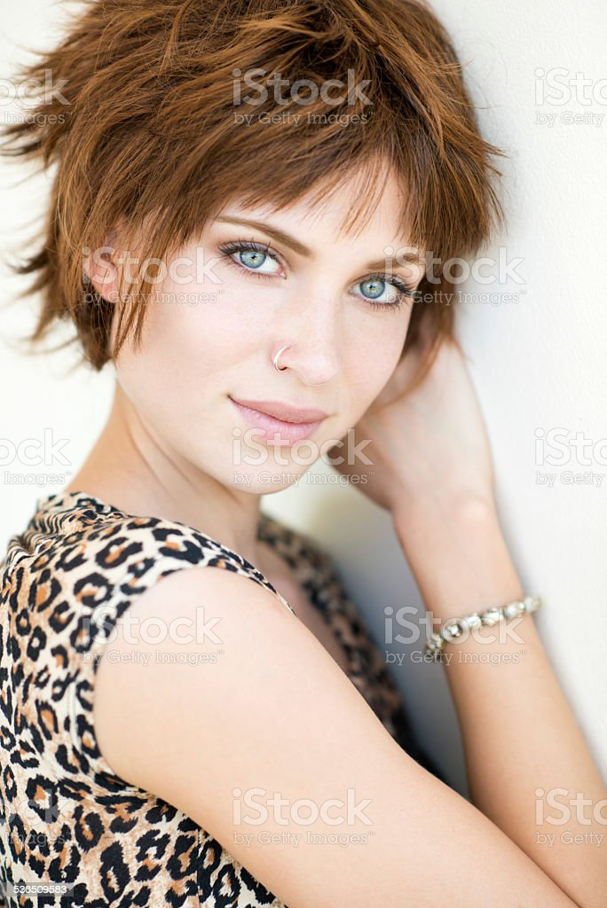 Natural Beautiful Portrait, Red Hair Woman stock photo