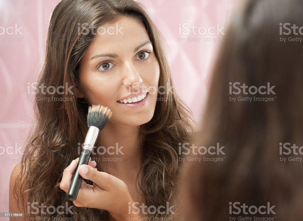 Natural beautiful Woman applying Make-Up (XXXL) royalty-free stock photo