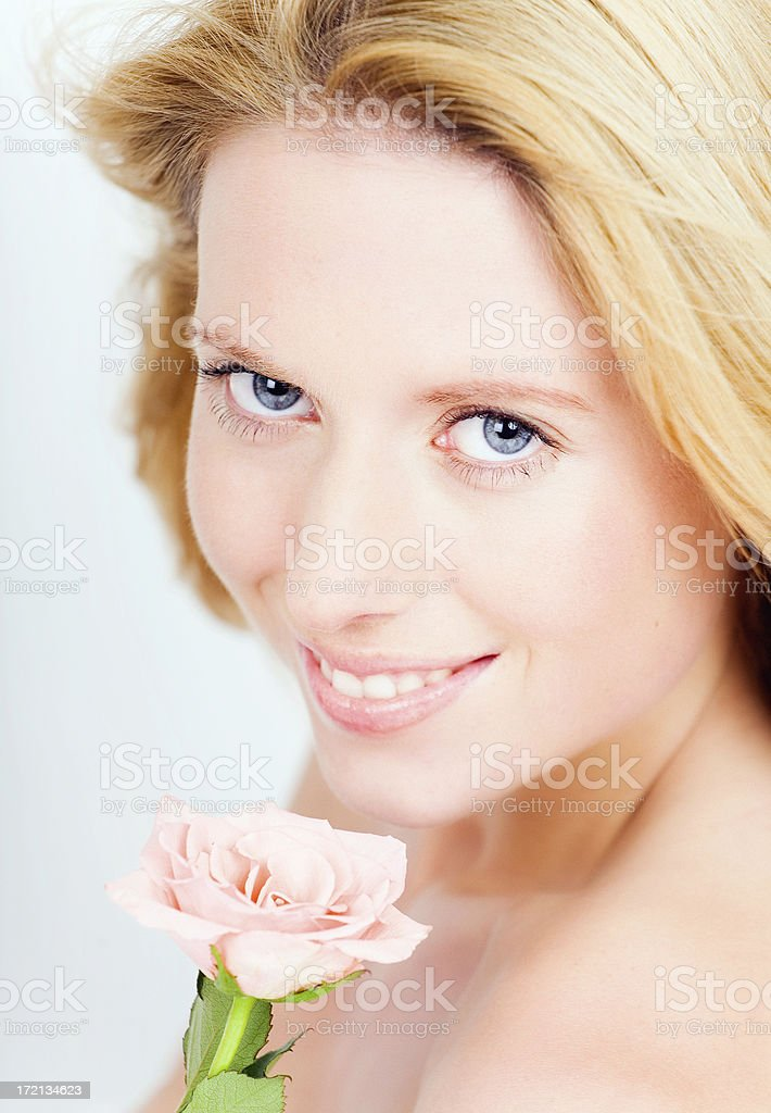 Natural Beauty And Rose royalty-free stock photo