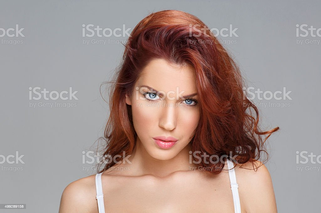 Natural Beauty    Attractive Beautiful  Young Women    Red hair   Blue Eyes stock photo